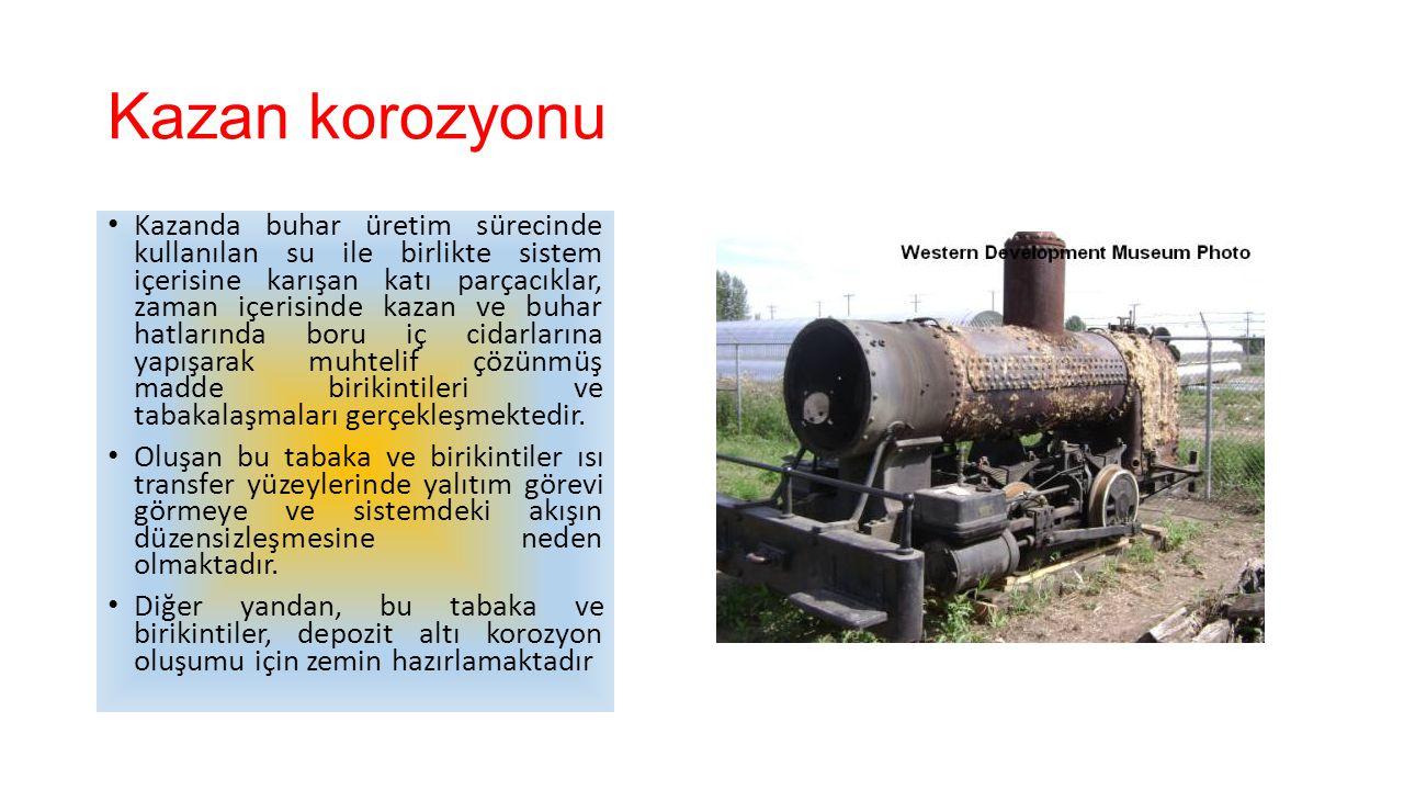 Kazan korozyonu Kazanda buhar üretim sürecinde kullanılan su ile birlikte sistem içerisine karışan katı parçacıklar, zaman içerisinde kazan ve buhar h