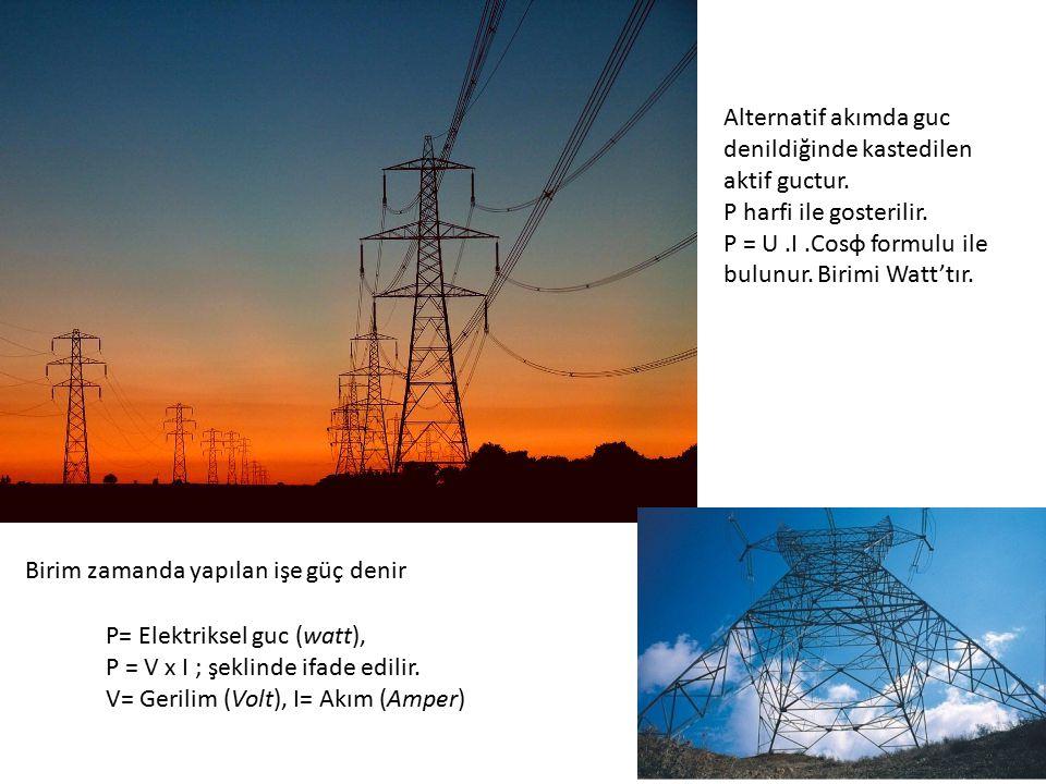 Birim zamanda yapılan işe güç denir P= Elektriksel guc (watt), P = V x I ; şeklinde ifade edilir. V= Gerilim (Volt), I= Akım (Amper) Alternatif akımda