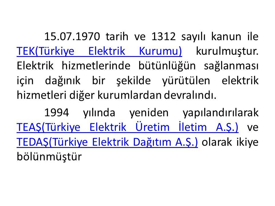 15.07.1970 tarih ve 1312 sayılı kanun ile TEK(Türkiye Elektrik Kurumu) kurulmuştur. Elektrik hizmetlerinde bütünlüğün sağlanması için dağınık bir şeki