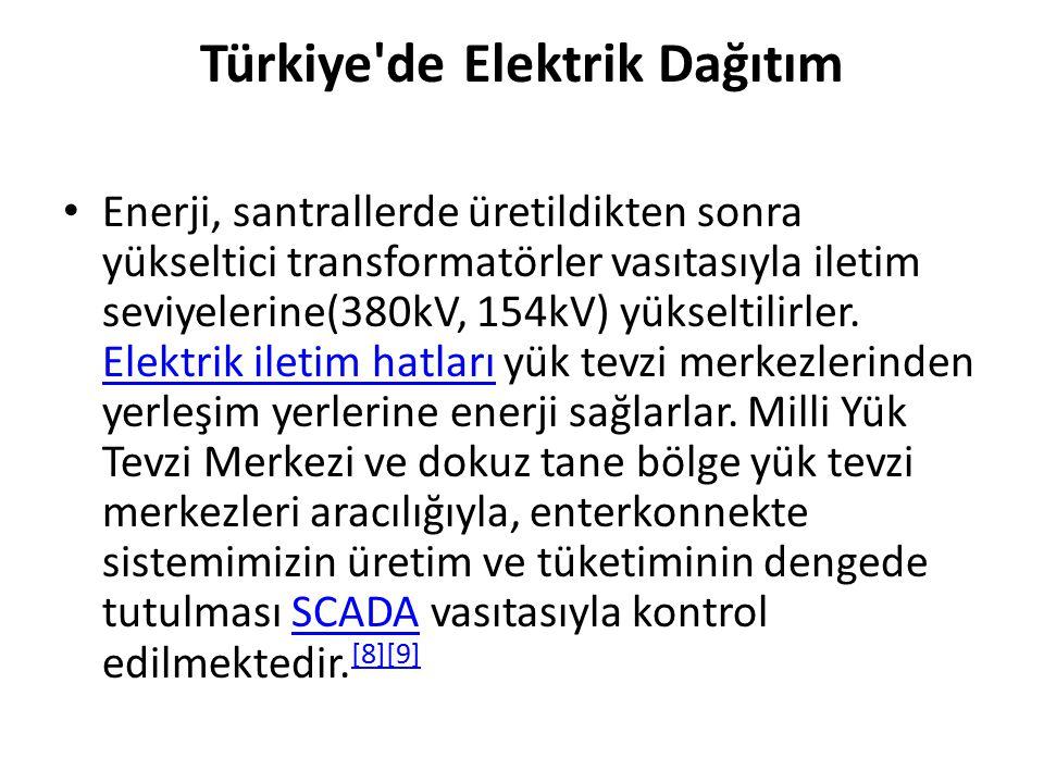 Türkiye'de Elektrik Dağıtım Enerji, santrallerde üretildikten sonra yükseltici transformatörler vasıtasıyla iletim seviyelerine(380kV, 154kV) yükselti