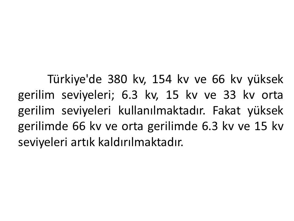 Türkiye'de 380 kv, 154 kv ve 66 kv yüksek gerilim seviyeleri; 6.3 kv, 15 kv ve 33 kv orta gerilim seviyeleri kullanılmaktadır. Fakat yüksek gerilimde