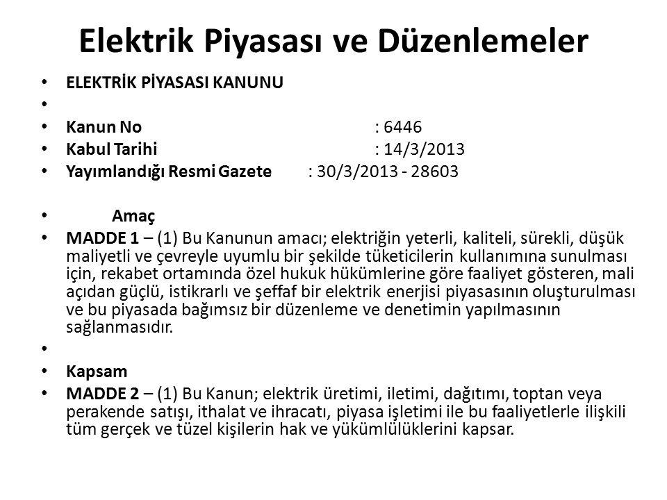 Elektrik Piyasası ve Düzenlemeler ELEKTRİK PİYASASI KANUNU Kanun No: 6446 Kabul Tarihi: 14/3/2013 Yayımlandığı Resmi Gazete: 30/3/2013 - 28603 Amaç MA