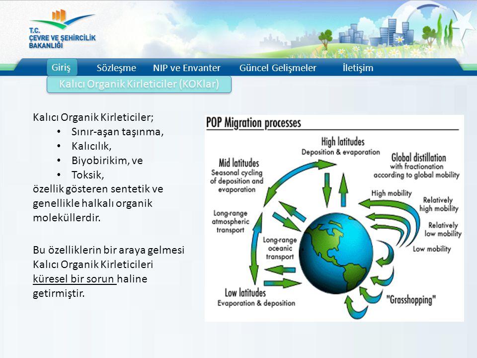 Giriş SözleşmeNIP ve EnvanterGüncel Gelişmelerİletişim Kalıcı Organik Kirleticiler (KOKlar) Kalıcı Organik Kirleticiler; Sınır-aşan taşınma, Kalıcılık