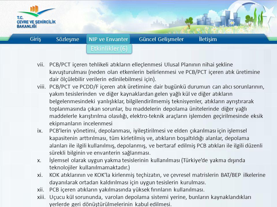 Giriş SözleşmeNIP ve EnvanterGüncel Gelişmelerİletişim Etkinlikler (6) vii.PCB/PCT içeren tehlikeli atıkların elleçlenmesi Ulusal Planının nihai şekli