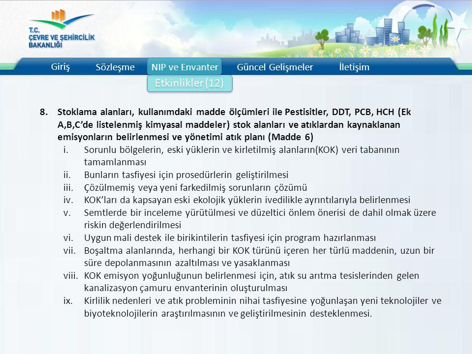 Giriş SözleşmeNIP ve EnvanterGüncel Gelişmelerİletişim Etkinlikler (12) 8.Stoklama alanları, kullanımdaki madde ölçümleri ile Pestisitler, DDT, PCB, H
