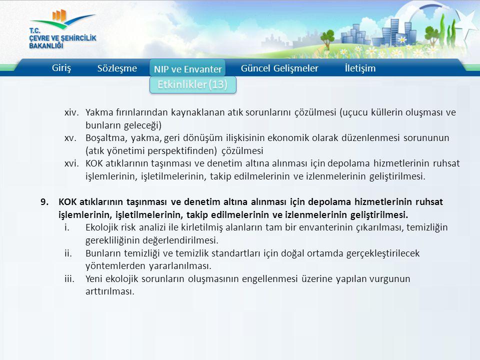 Giriş Sözleşme NIP ve Envanter Güncel Gelişmelerİletişim Etkinlikler (13) xiv.Yakma fırınlarından kaynaklanan atık sorunlarını çözülmesi (uçucu küller