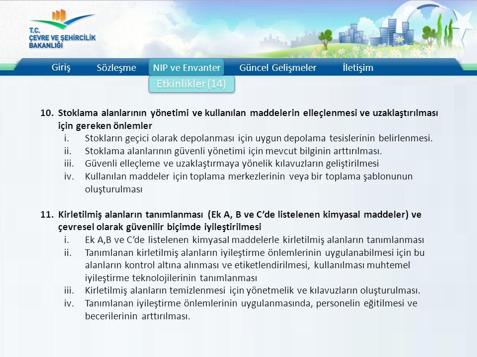 Giriş SözleşmeNIP ve EnvanterGüncel Gelişmelerİletişim Etkinlikler (14) 10.Stoklama alanlarının yönetimi ve kullanılan maddelerin elleçlenmesi ve uzak