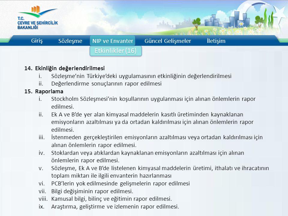 Giriş SözleşmeNIP ve EnvanterGüncel Gelişmelerİletişim Etkinlikler (16) 14.Ekinliğin değerlendirilmesi i.Sözleşme'nin Türkiye'deki uygulamasının etkin