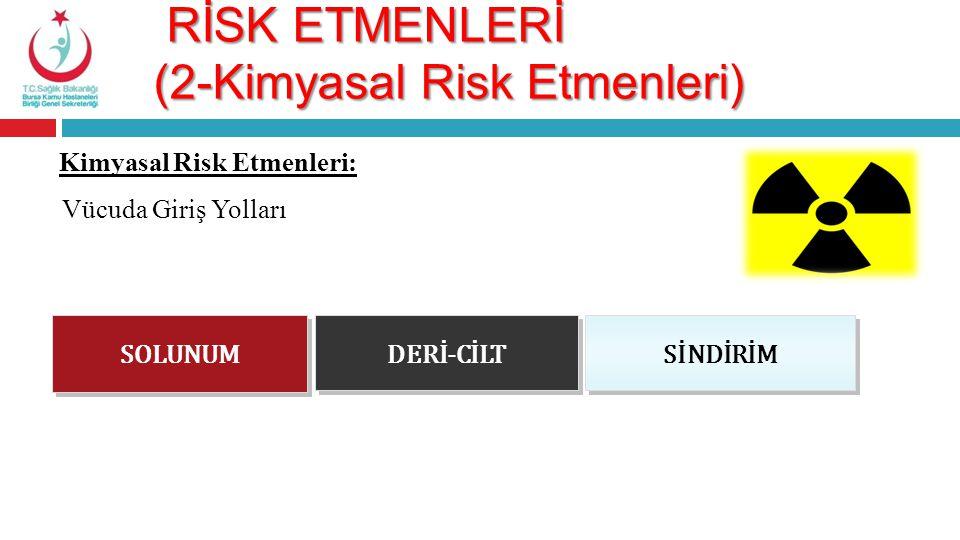 RİSK ETMENLERİ (2-Kimyasal Risk Etmenleri) RİSK ETMENLERİ (2-Kimyasal Risk Etmenleri) Kimyasal Risk Etmenleri: SOLUNUM Vücuda Giriş Yolları DERİ-CİLT