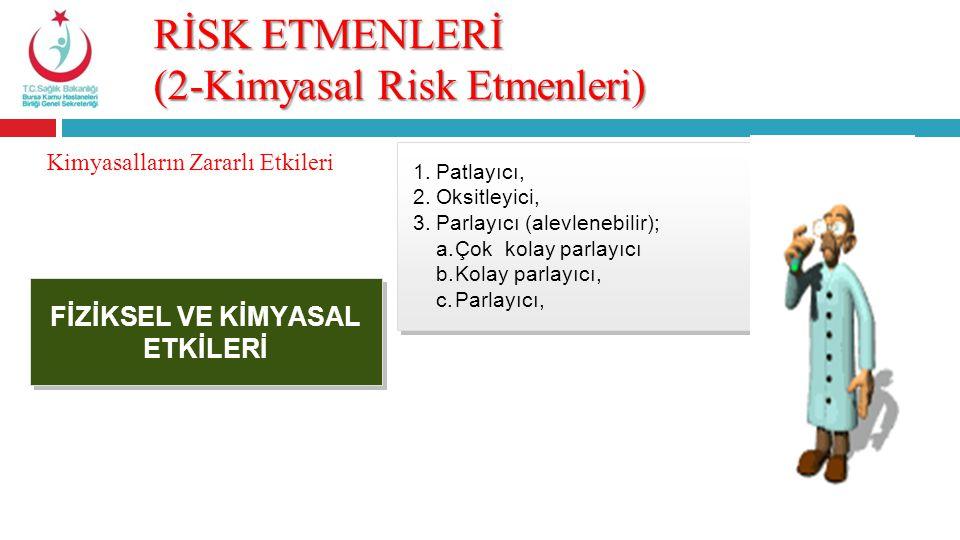 RİSK ETMENLERİ (2-Kimyasal Risk Etmenleri) FİZİKSEL VE KİMYASAL ETKİLERİ Kimyasalların Zararlı Etkileri 1.Patlayıcı, 2.Oksitleyici, 3.Parlayıcı (alevl