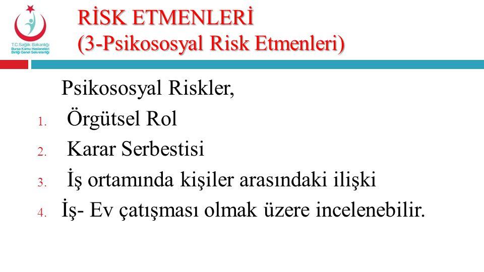 RİSK ETMENLERİ (3-Psikososyal Risk Etmenleri) Psikososyal Riskler, 1. Örgütsel Rol 2. Karar Serbestisi 3. İş ortamında kişiler arasındaki ilişki 4. İş