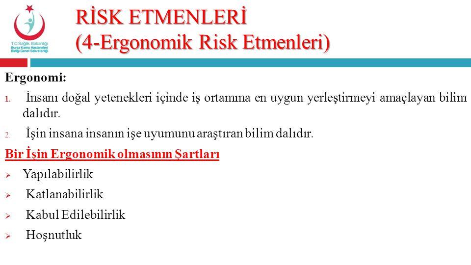 RİSK ETMENLERİ (4-Ergonomik Risk Etmenleri) Ergonomi: 1. İnsanı doğal yetenekleri içinde iş ortamına en uygun yerleştirmeyi amaçlayan bilim dalıdır. 2