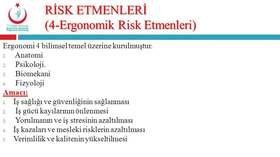 RİSK ETMENLERİ (4-Ergonomik Risk Etmenleri) Ergonomi 4 bilimsel temel üzerine kurulmuştur. 1. Anatomi 2. Psikoloji. 3. Biomekani 4. Fizyoloji Amacı: 1