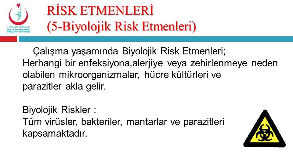 RİSK ETMENLERİ (5-Biyolojik Risk Etmenleri) Çalışma yaşamında Biyolojik Risk Etmenleri; Herhangi bir enfeksiyona,alerjiye veya zehirlenmeye neden olab