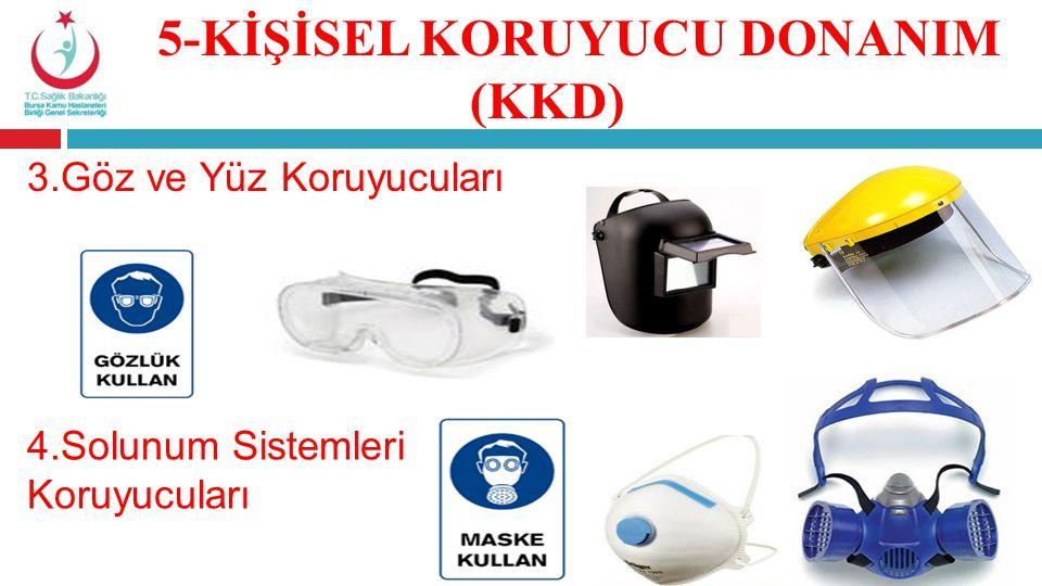 3.Göz ve Yüz Koruyucuları 4.Solunum Sistemleri Koruyucuları 5-KİŞİSEL KORUYUCU DONANIM (KKD)