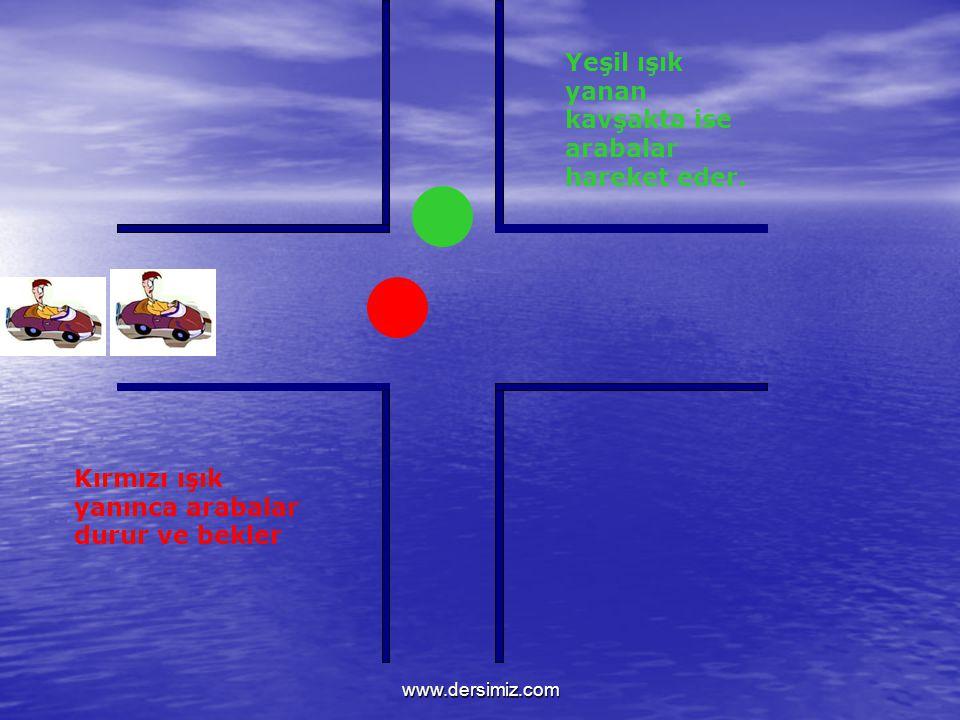 Kırmızı ışık yanınca arabalar durur ve bekler Yeşil ışık yanan kavşakta ise arabalar hareket eder.