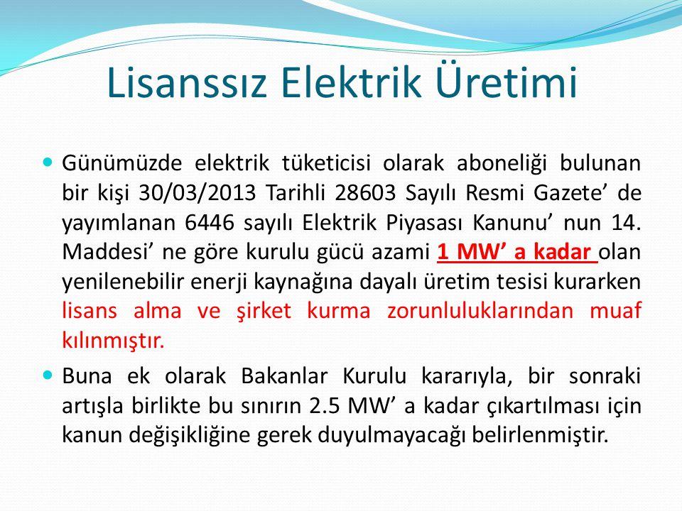 Lisanssız Elektrik Üretimi Günümüzde elektrik tüketicisi olarak aboneliği bulunan bir kişi 30/03/2013 Tarihli 28603 Sayılı Resmi Gazete' de yayımlanan 6446 sayılı Elektrik Piyasası Kanunu' nun 14.