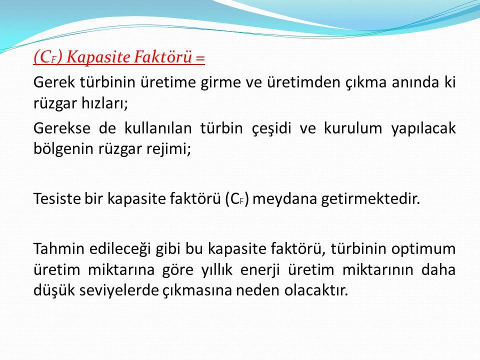 (C F ) Kapasite Faktörü = Gerek türbinin üretime girme ve üretimden çıkma anında ki rüzgar hızları; Gerekse de kullanılan türbin çeşidi ve kurulum yapılacak bölgenin rüzgar rejimi; Tesiste bir kapasite faktörü (C F ) meydana getirmektedir.