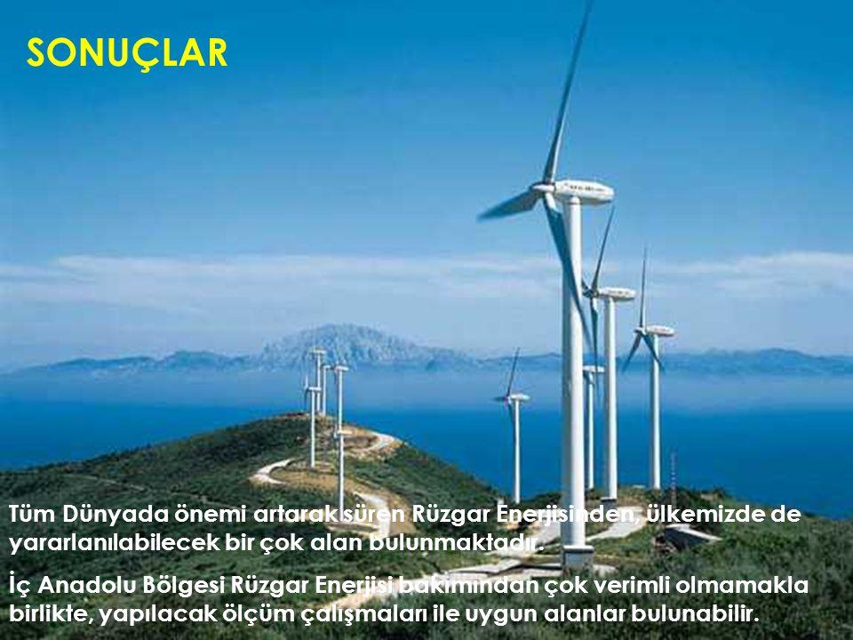 SONUÇLAR Tüm Dünyada önemi artarak süren Rüzgar Enerjisinden, ülkemizde de yararlanılabilecek bir çok alan bulunmaktadır. İç Anadolu Bölgesi Rüzgar En