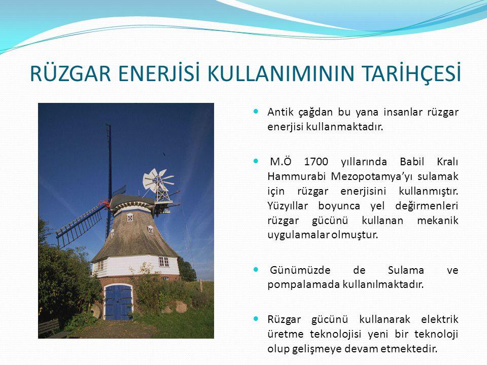 RÜZGAR ENERJİSİ KULLANIMININ TARİHÇESİ Antik çağdan bu yana insanlar rüzgar enerjisi kullanmaktadır. M.Ö 1700 yıllarında Babil Kralı Hammurabi Mezopot