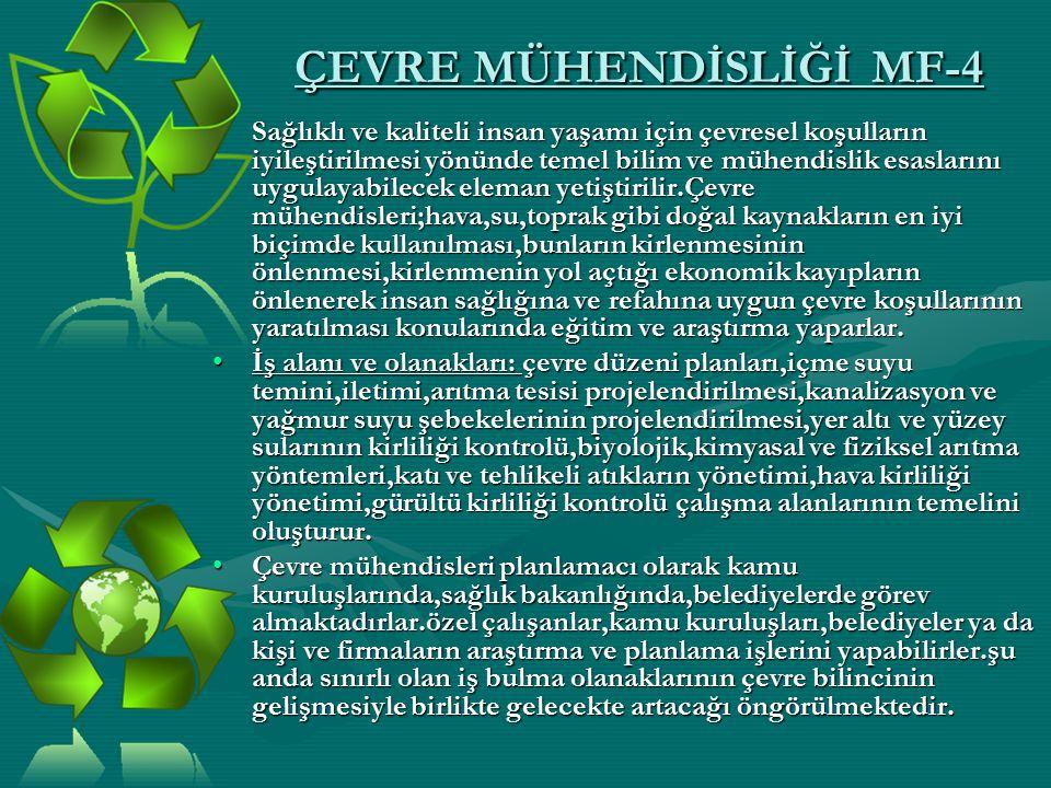 ÇEVRE MÜHENDİSLİĞİ MF-4 Sağlıklı ve kaliteli insan yaşamı için çevresel koşulların iyileştirilmesi yönünde temel bilim ve mühendislik esaslarını uygul