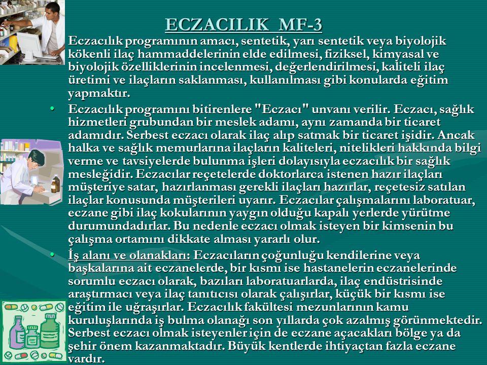 ECZACILIK MF-3 Eczacılık programının amacı, sentetik, yarı sentetik veya biyolojik kökenli ilaç hammaddelerinin elde edilmesi, fiziksel, kimyasal ve b