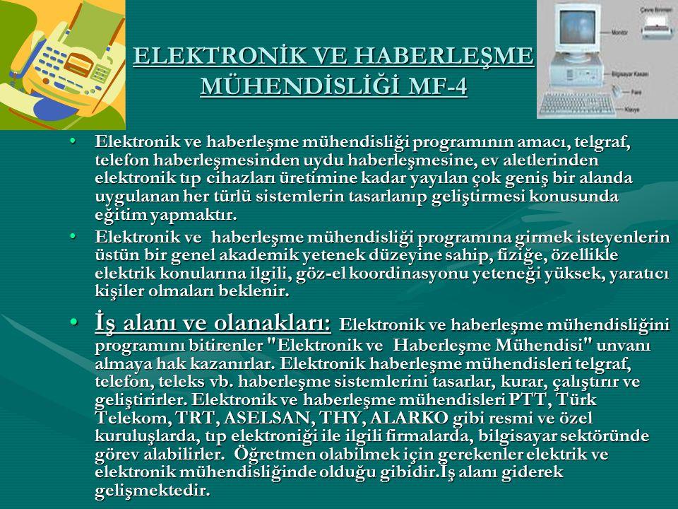 ELEKTRONİK VE HABERLEŞME MÜHENDİSLİĞİ MF-4 Elektronik ve haberleşme mühendisliği programının amacı, telgraf, telefon haberleşmesinden uydu haberleşmes