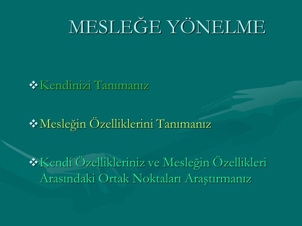 KENDİNİ TANIMA İLGİLERİNİZ-Mekanik-Ticaret -Sosyal Yardım vb.