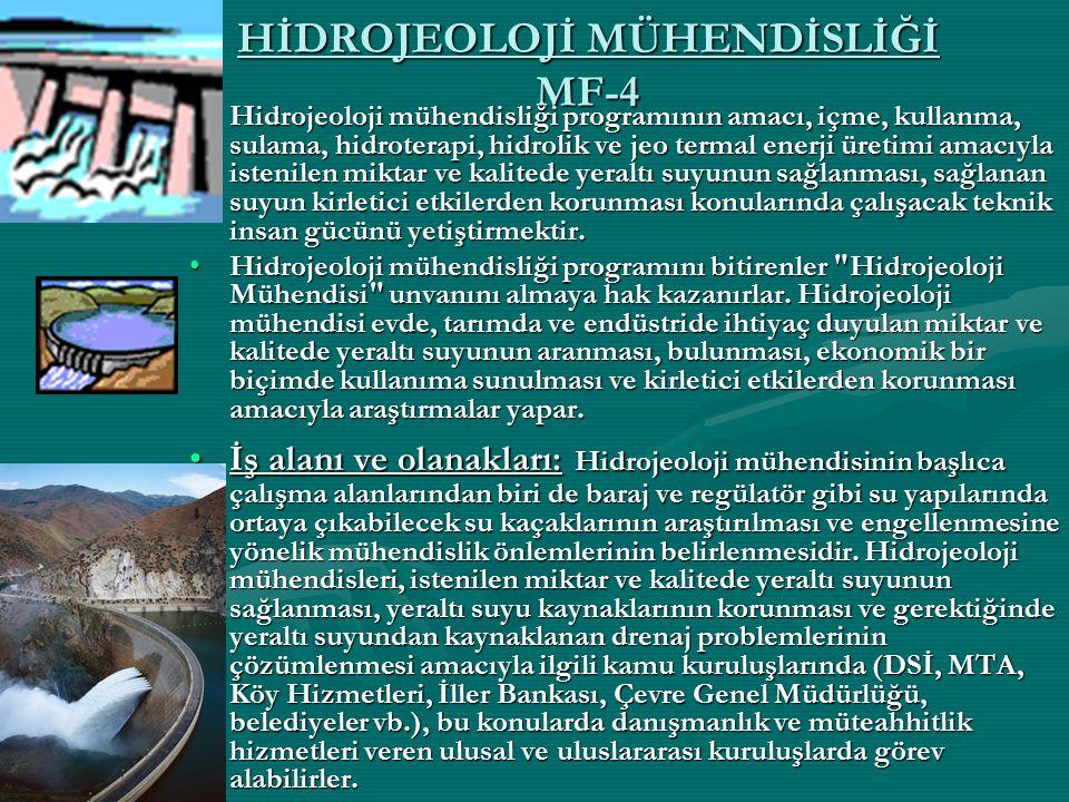 HİDROJEOLOJİ MÜHENDİSLİĞİ MF-4 Hidrojeoloji mühendisliği programının amacı, içme, kullanma, sulama, hidroterapi, hidrolik ve jeo termal enerji üretimi