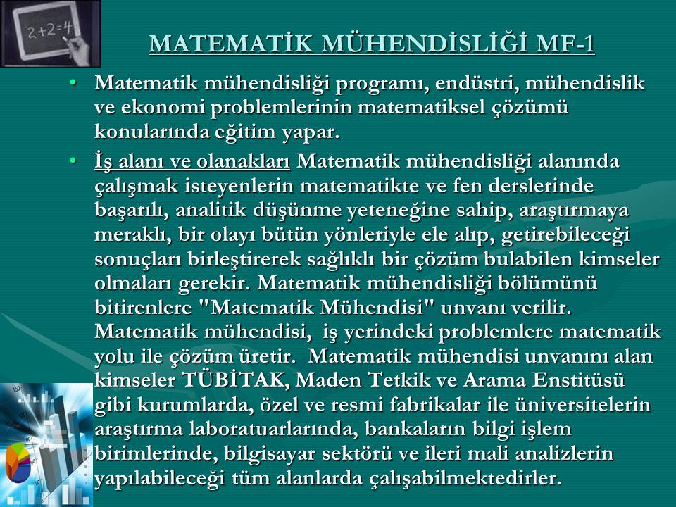 MATEMATİK MÜHENDİSLİĞİ MF-1 Matematik mühendisliği programı, endüstri, mühendislik ve ekonomi problemlerinin matematiksel çözümü konularında eğitim ya