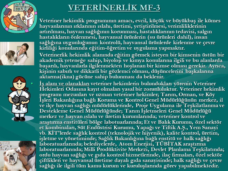 VETERİNERLİK MF-3 Veteriner hekimlik programının amacı, evcil, küçük ve büyükbaş ile kümes hayvanlarının ırklarının ıslahı, üretimi, yetiştirilmesi, v