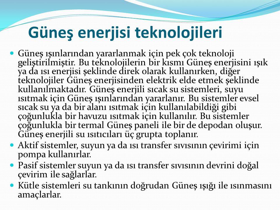 Yaygın Güneş enerjisi uygulamaları şunlardır ; Düzlemsel Güneş kollektörleri: Ülkemizde de çok yaygın olarak kullanılan, evlerde sıcak su elde etmede kullanılan sistemlerdir.