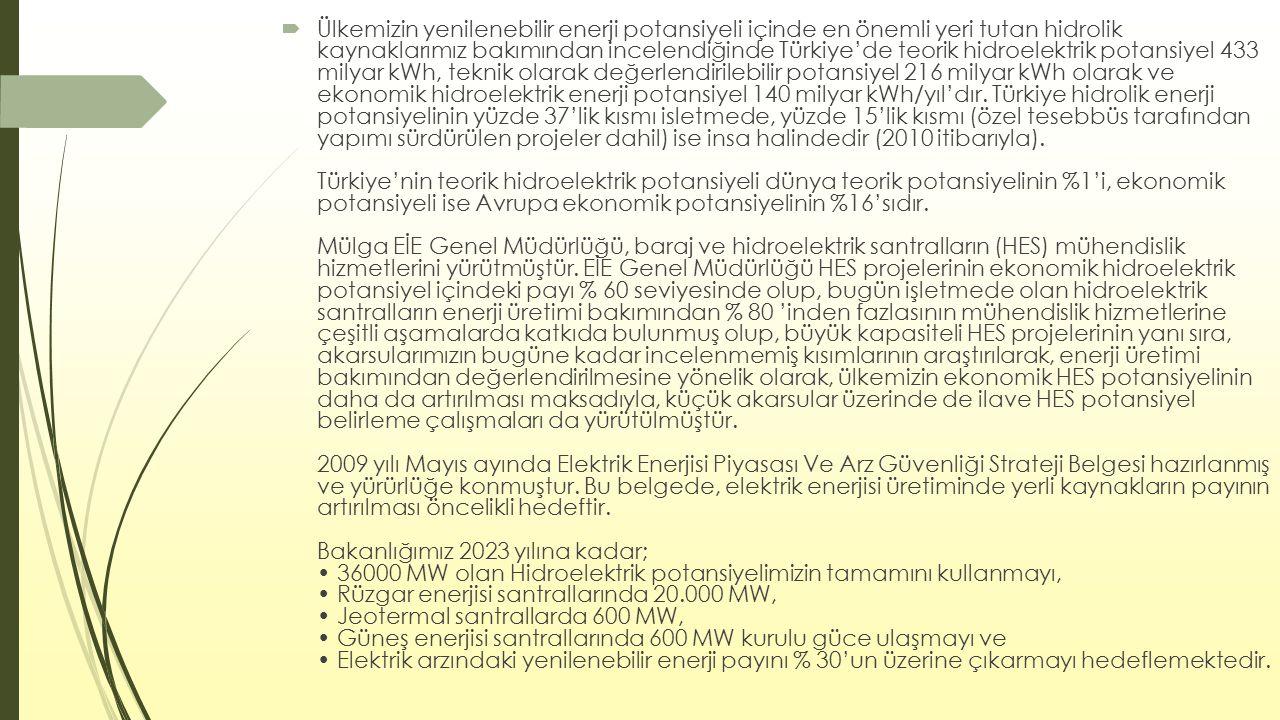  Ülkemizin yenilenebilir enerji potansiyeli içinde en önemli yeri tutan hidrolik kaynaklarımız bakımından incelendiğinde Türkiye'de teorik hidroelekt
