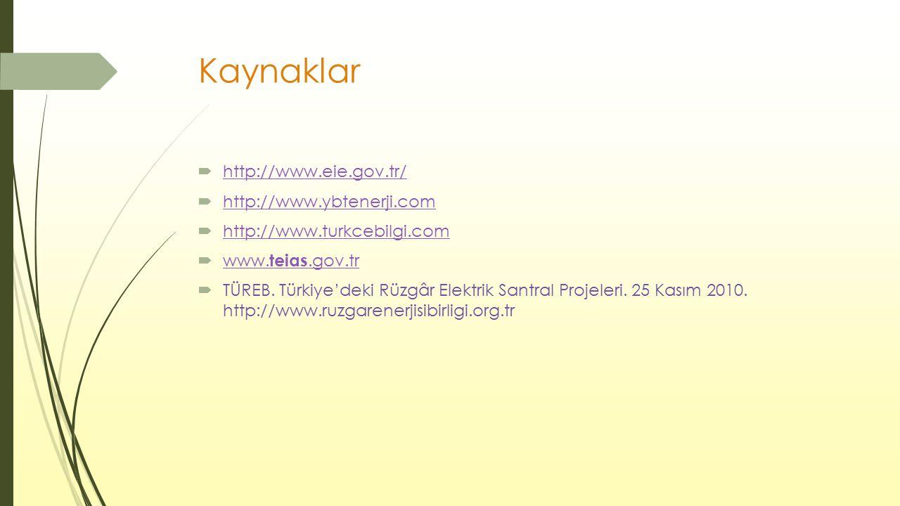 Kaynaklar  http://www.eie.gov.tr/ http://www.eie.gov.tr/  http://www.ybtenerji.com http://www.ybtenerji.com  http://www.turkcebilgi.com http://www.