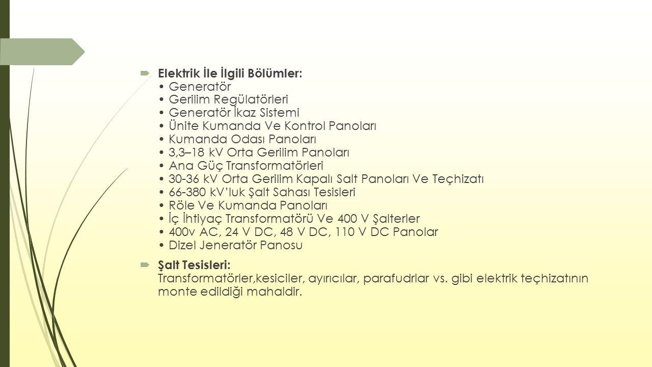  Elektrik İle İlgili Bölümler: Generatör Gerilim Regülatörleri Generatör İkaz Sistemi Ünite Kumanda Ve Kontrol Panoları Kumanda Odası Panoları 3,3–18