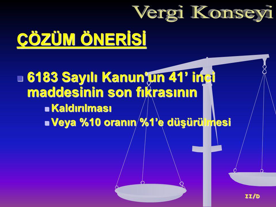 ÇÖZÜM ÖNERİSİ 6183 Sayılı Kanun'un 41' inci maddesinin son fıkrasının 6183 Sayılı Kanun'un 41' inci maddesinin son fıkrasının Kaldırılması Kaldırılması Veya %10 oranın %1'e düşürülmesi Veya %10 oranın %1'e düşürülmesi II/D II/D