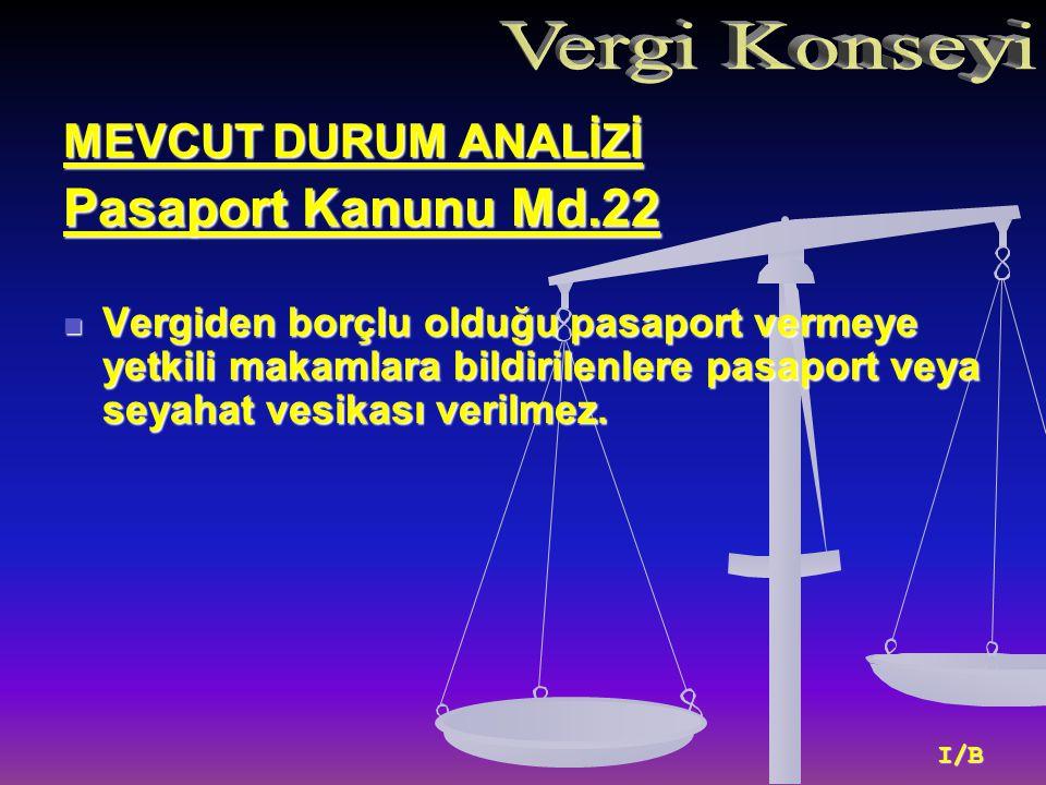 MEVCUT DURUM ANALİZİ Pasaport Kanunu Md.22 Vergiden borçlu olduğu pasaport vermeye yetkili makamlara bildirilenlere pasaport veya seyahat vesikası verilmez.