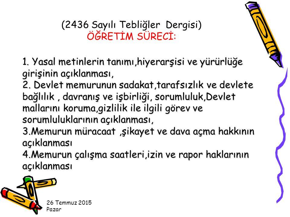 MEMURUN KILIK-KIYAFETLE İLGİLİ UYMASI GEREKEN KURALLAR M.E.B.
