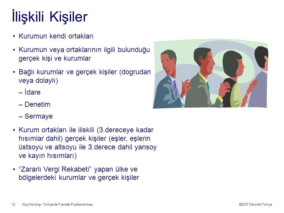 ©2007 Deloitte Türkiye Koç Holding - Türkiye'de Transfer Fiyatlandırması 12 İlişkili Kişiler Kurumun kendi ortakları Kurumun veya ortaklarının ilgili