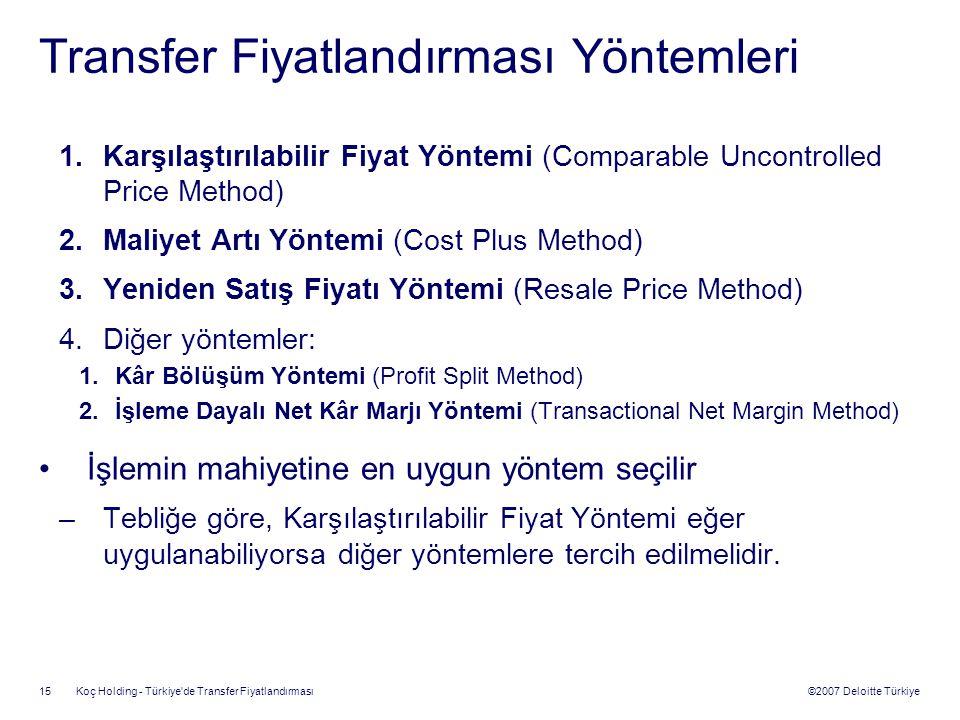©2007 Deloitte Türkiye Koç Holding - Türkiye'de Transfer Fiyatlandırması 15 Transfer Fiyatlandırması Yöntemleri 1.Karşılaştırılabilir Fiyat Yöntemi (C
