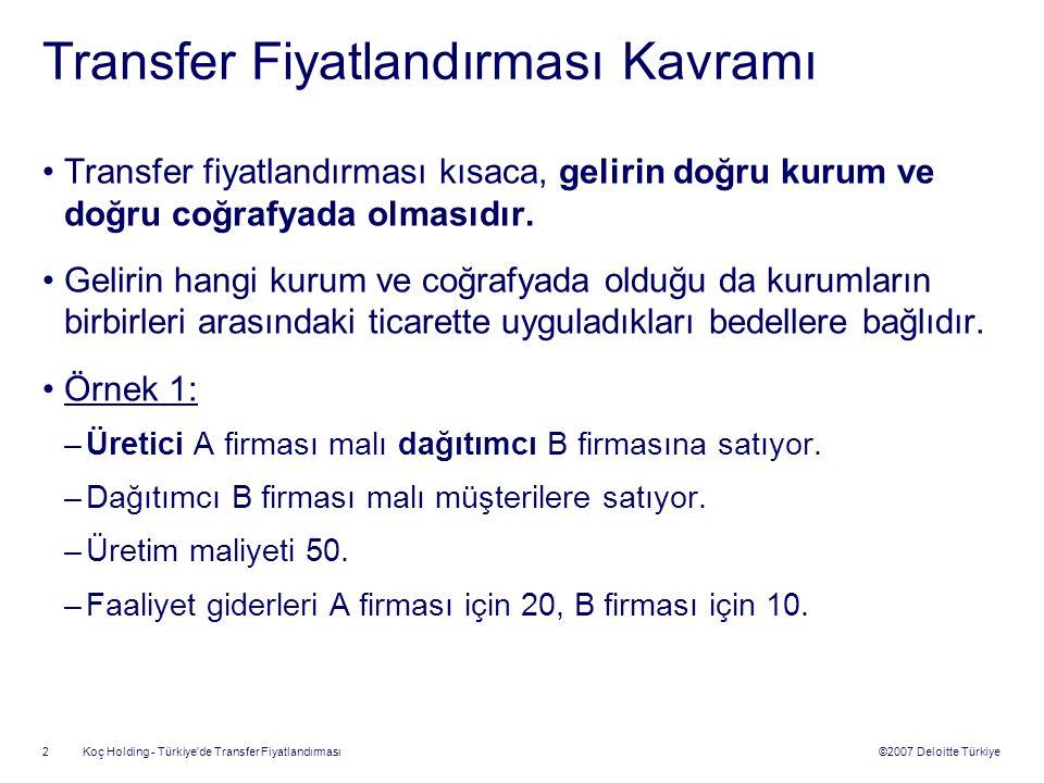 ©2007 Deloitte Türkiye Koç Holding - Türkiye de Transfer Fiyatlandırması 3 Transfer Fiyatlandırması Kavramı A Firması Üretim Maliyeti = 50 Faaliyet Gideri = 20 B Firması Satış Maliyeti = 100 Faaliyet Gideri = 10 Müşteri 100 150 Kâr Dağılımı A Firması30 B Firması40 TOPLAM70