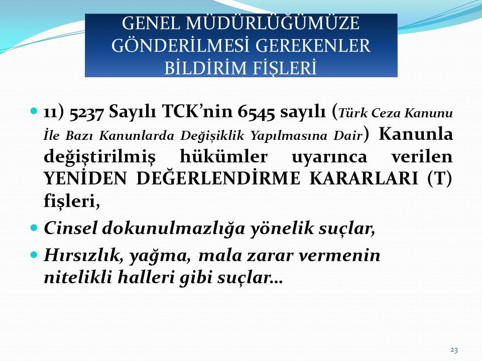 11) 5237 Sayılı TCK'nin 6545 sayılı ( Türk Ceza Kanunu İle Bazı Kanunlarda Değişiklik Yapılmasına Dair ) Kanunla değiştirilmiş hükümler uyarınca verilen YENİDEN DEĞERLENDİRME KARARLARI (T) fişleri, Cinsel dokunulmazlığa yönelik suçlar, Hırsızlık, yağma, mala zarar vermenin nitelikli halleri gibi suçlar… 23 GENEL MÜDÜRLÜĞÜMÜZE GÖNDERİLMESİ GEREKENLER BİLDİRİM FİŞLERİ
