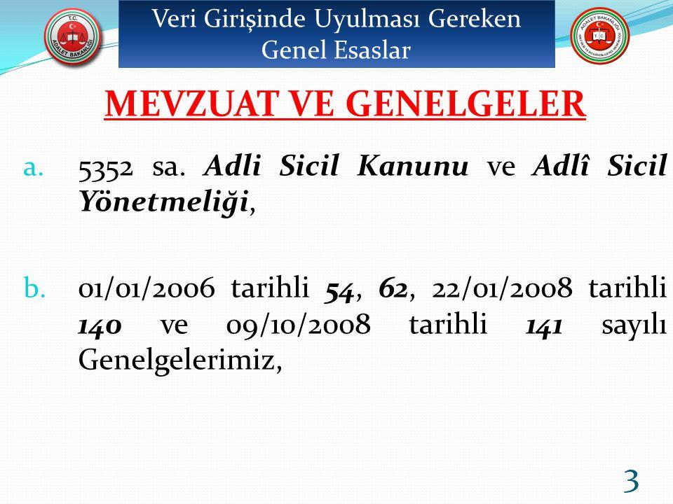 54 sayılı genelgemiz: Bildirme (C, Y ve T) fişlerinin düzenlenmesi, sisteme girilmesi ve verilerin transferinde dikkat edilecek hususlar ile Genel Müdürlüğe gönderilecek tâli karar fişlerini, 62 sayılı genelgemiz :Bildirme fişlerini, 140 sayılı genelgemiz : 5237 sayılı Türk Ceza Kanununun 51.