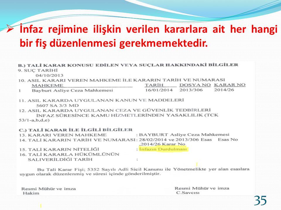  İnfaz rejimine ilişkin verilen kararlara ait her hangi bir fiş düzenlenmesi gerekmemektedir. 35