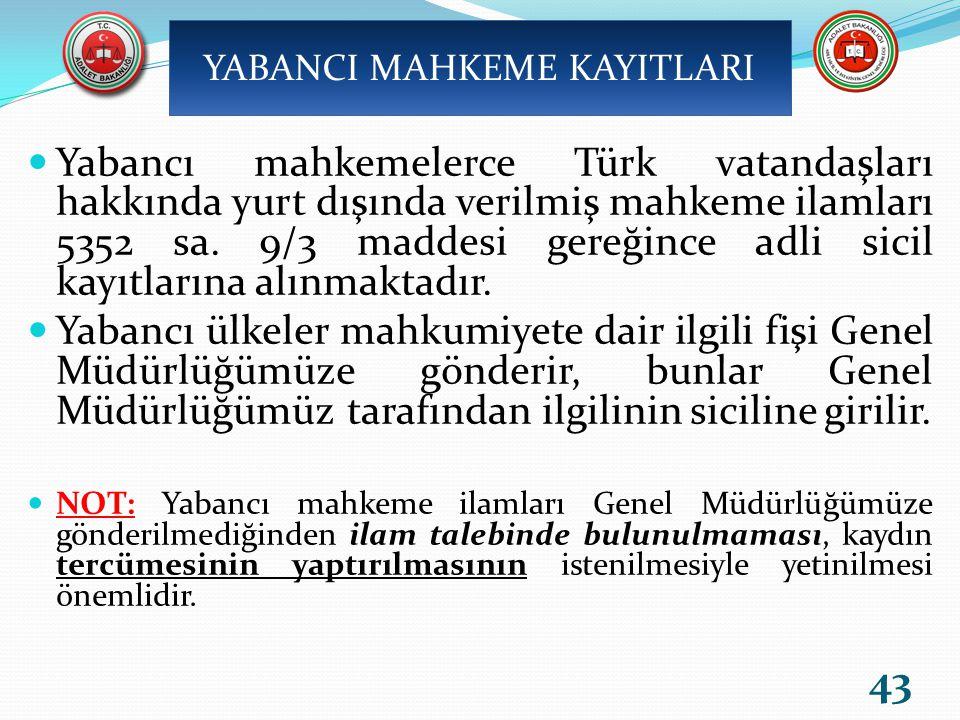 Yabancı mahkemelerce Türk vatandaşları hakkında yurt dışında verilmiş mahkeme ilamları 5352 sa.