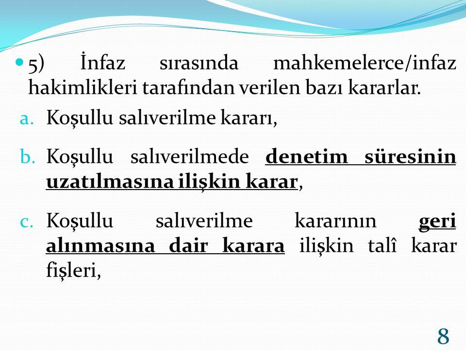 6) Erteli hapis cezasının aynen infazına dair talî karar fişi, 7) 5271 sayılı CMK' nın 171/2.
