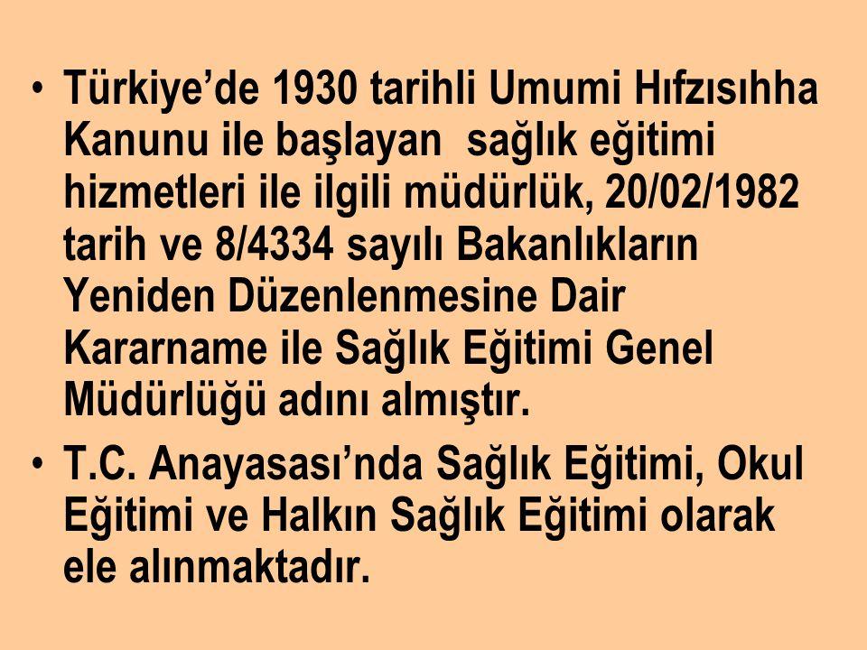 Türkiye'de 1930 tarihli Umumi Hıfzısıhha Kanunu ile başlayan sağlık eğitimi hizmetleri ile ilgili müdürlük, 20/02/1982 tarih ve 8/4334 sayılı Bakanlık