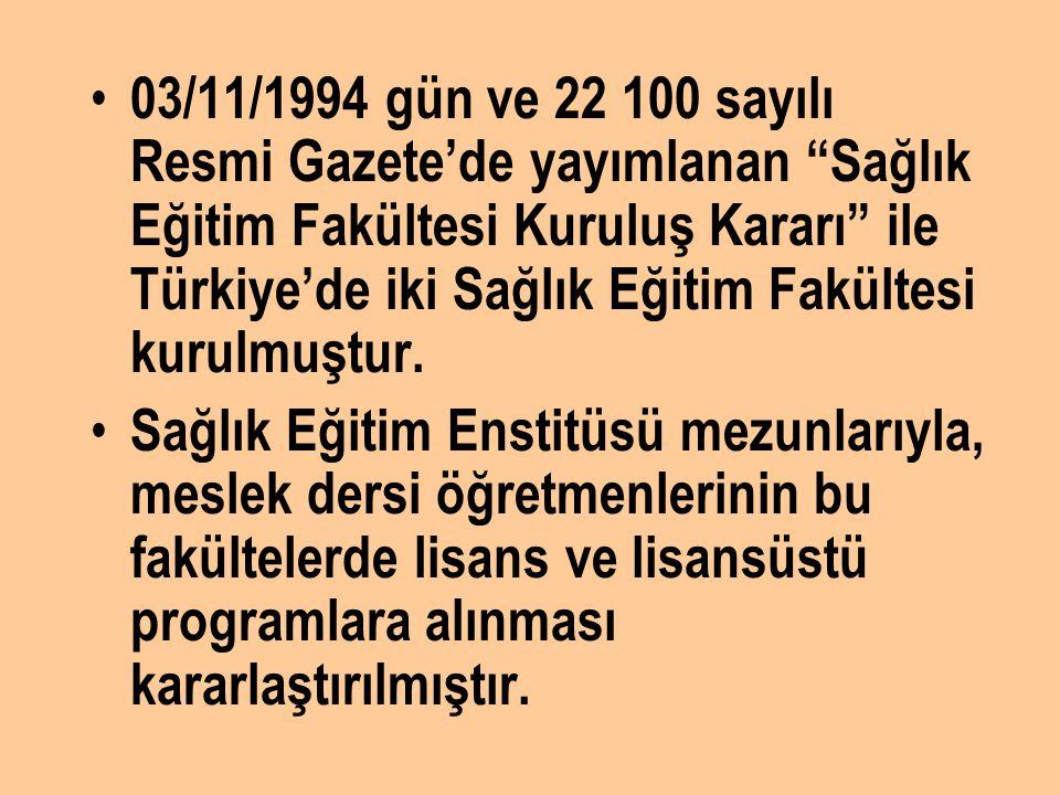 """03/11/1994 gün ve 22 100 sayılı Resmi Gazete'de yayımlanan """"Sağlık Eğitim Fakültesi Kuruluş Kararı"""" ile Türkiye'de iki Sağlık Eğitim Fakültesi kurulmu"""