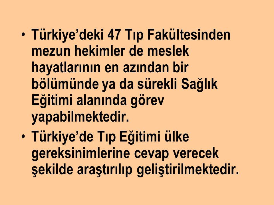 Türkiye'deki 47 Tıp Fakültesinden mezun hekimler de meslek hayatlarının en azından bir bölümünde ya da sürekli Sağlık Eğitimi alanında görev yapabilme