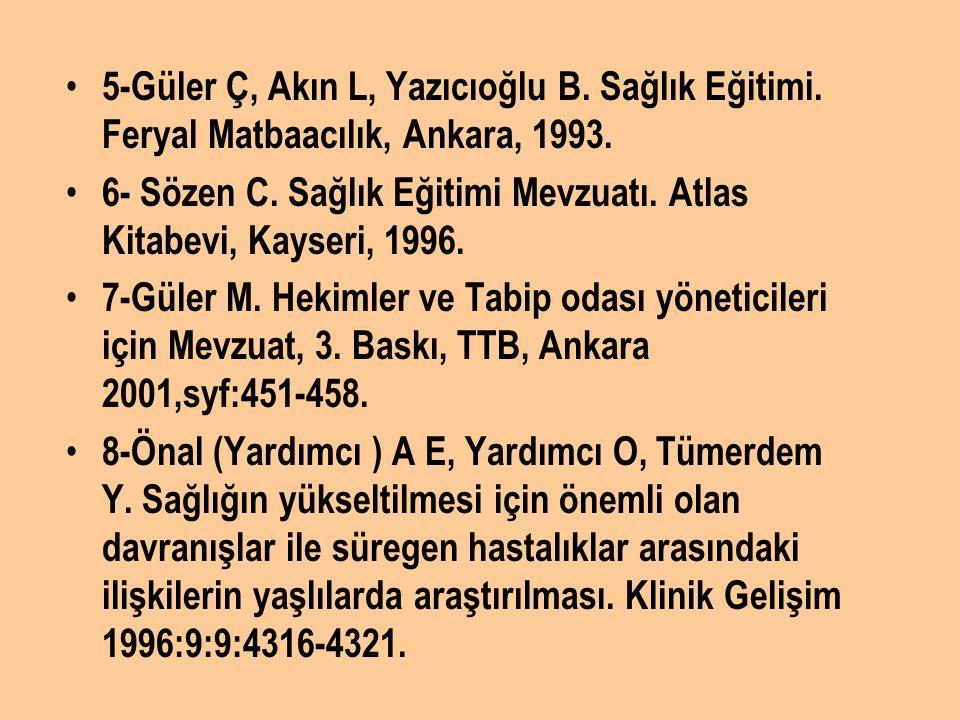 5-Güler Ç, Akın L, Yazıcıoğlu B. Sağlık Eğitimi. Feryal Matbaacılık, Ankara, 1993. 6- Sözen C. Sağlık Eğitimi Mevzuatı. Atlas Kitabevi, Kayseri, 1996.